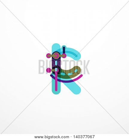 Linear business logo letter. Alphabet initial letters company name concept. Flat thin line segments connected to each other.