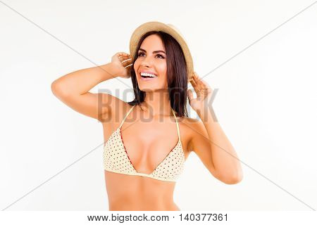 Portrait Of Happy Cheerful Woman Wearing Summer Hat