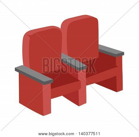 Cinema chairs movie tools in flat design background concept. Armchairs cinema. Icons cnema chairs product vector illustration, web movie entertainment and mobile applications auditorium show sign.