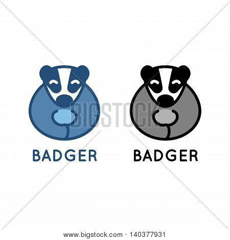 Badger logo. Vector illustration isolated on white. Cute little animal. Clean design for kindergarten, zoo, wildlife protection
