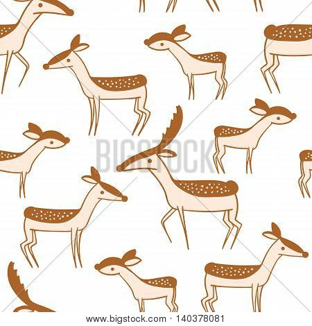 Seamless pattern with cute cartoon deer family. Wallpaper on white background. Little lovable fawn and his parents