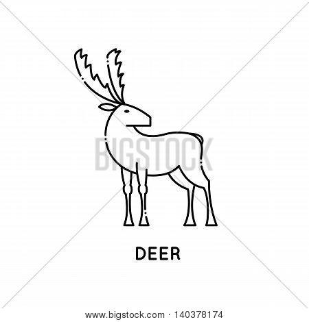 Deer logo. Vector illustration isolated on white. Line style design. Cartoon animal. Stylized deer. Outline forest animal