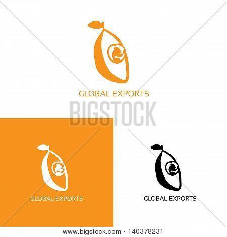 Fresh fruit with globe logo. Vector illustration isolated on white. Playful freehand orange logo for international companies