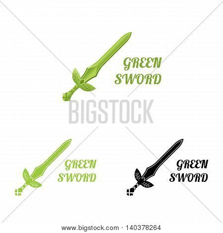 Green sword logo. Vector illustration isolated on white. Logo for natural protection company, eco products, organic products