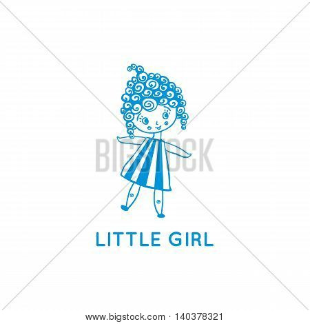 Little girl logo. Vector illustration isolated on white. Playful smiling girl with curly hair and striped dress