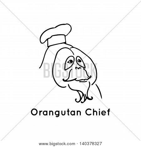 Orangutan chief logo. Black vector illustration isolated on white. Funny monkey. Line design animal with cook cap