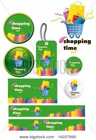 shopping time vector set - ready-made banners, posters, badges, tags and buttons