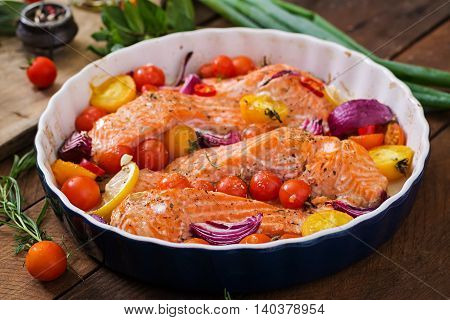 Baked Salmon Fillet With Tomatoes, Red Onions And Spices. Diet Menu.