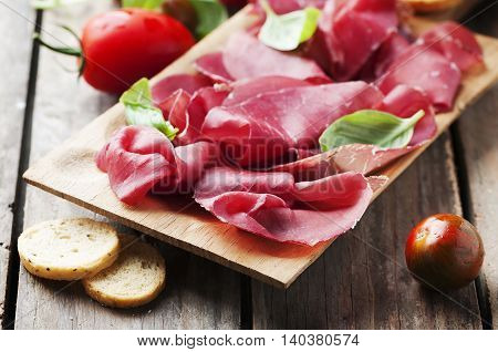 Appetizer With Italian Bresaola And Tomato