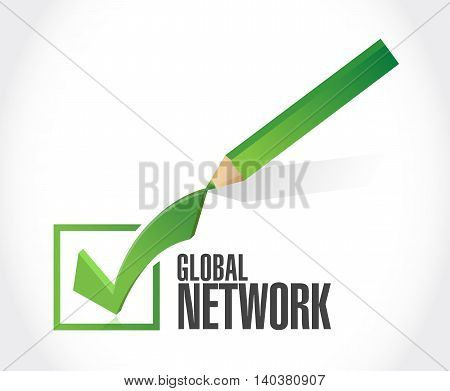 Global Network Check Mark Sign Concept