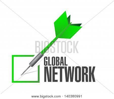 Global Network Check Dart Sign Concept