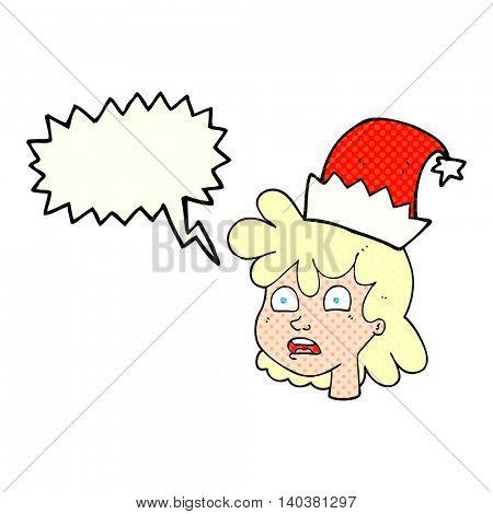 freehand drawn comic book speech bubble cartoon stressed woman wearing santa hat
