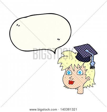 freehand drawn comic book speech bubble cartoon woman wearing graduate cap
