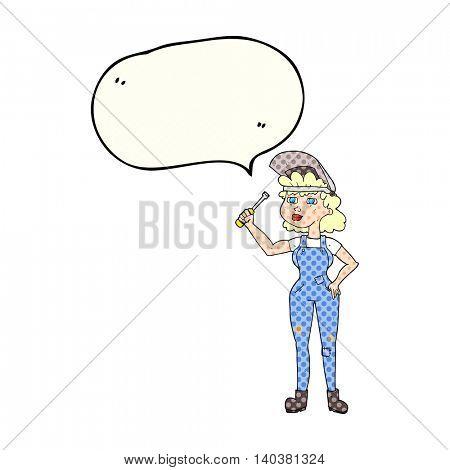 freehand drawn comic book speech bubble cartoon female mechanic