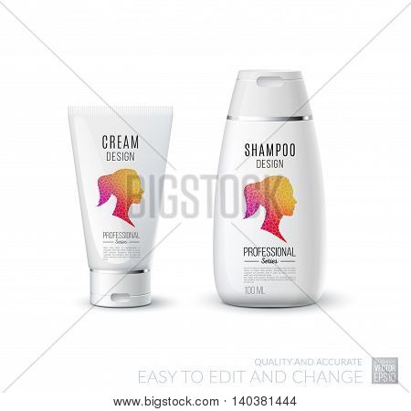 Abstract body care cosmetic brand concept. Tube cream, shampoo packaging. Realistic vector identity set template with female silhouette for beauty, medicine, healthcare. Design layout.