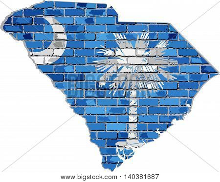 Grunge map and flag state of South Carolina on brick textured background,