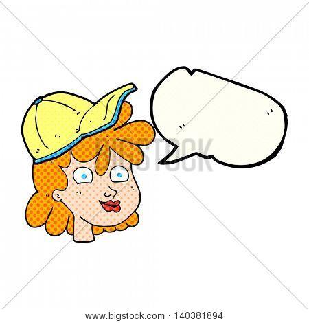 freehand drawn comic book speech bubble cartoon woman wearing cap