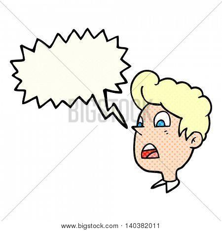 freehand drawn comic book speech bubble cartoon shocked man