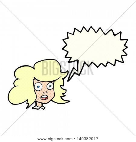 freehand drawn comic book speech bubble cartoon surprised female face