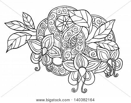 Hand drawn monochrome doodle flowers, leafs and ribbon with swirl vector