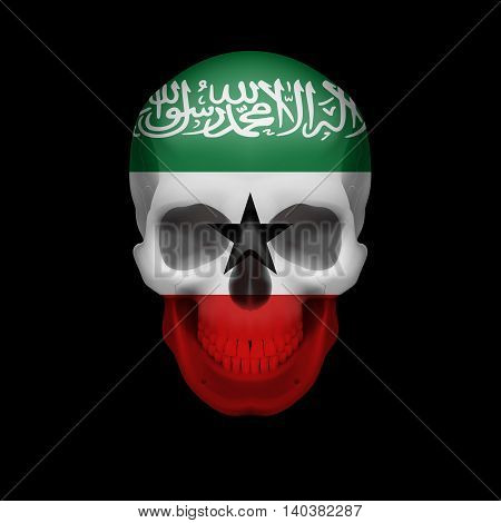 Human skull with flag of Somaliland. Threat to national security war or dying out