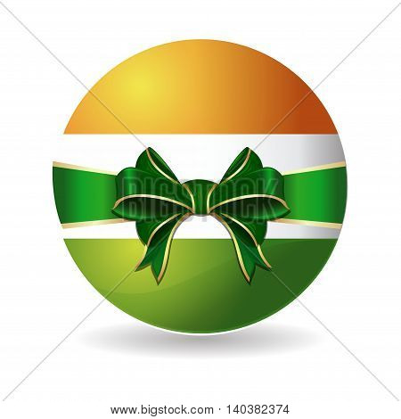 Round icon painted in the colors of the Indian flag. Indian flag tied with green ribbon with a bow. Vector illustration isolated on white background