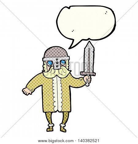 freehand drawn comic book speech bubble cartoon saxon warrior