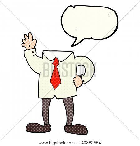 freehand drawn comic book speech bubble cartoon headless businessman
