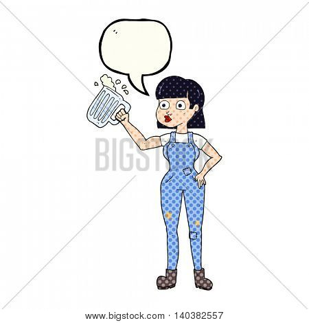 freehand drawn comic book speech bubble cartoon woman with beer