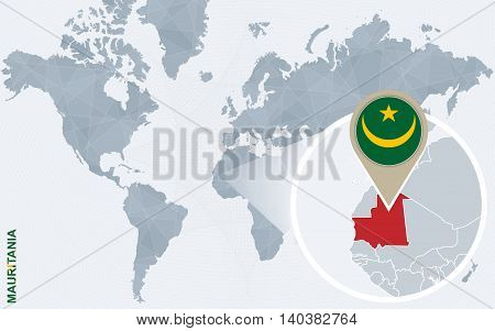 Abstract Blue World Map With Magnified Mauritania.