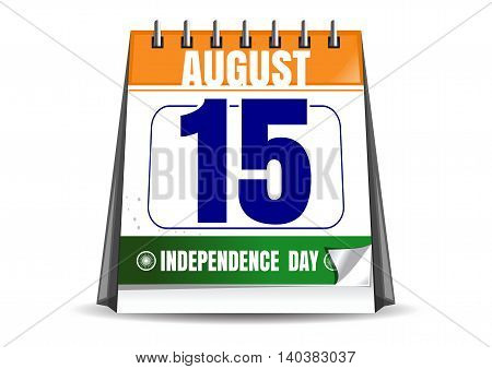 Desktop calendar with the date of 15 August isolated on white background. Indian Independence Day. Vector illustration