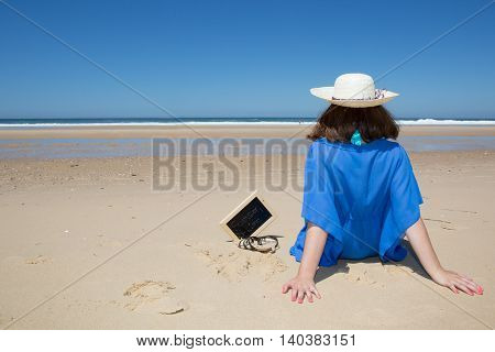 Beach Vacation, Young Woman In Sunhat, Sitting Enjoying Looking View