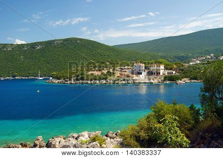 Bright summer seascape with Lustica peninsula in Montenegro