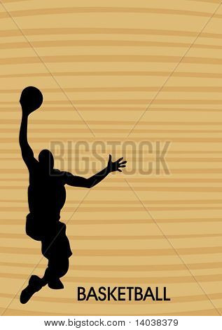 wooden basketball poster