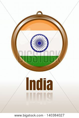 Flags of India in the form of circular pendants. Indian flag. Medallion with the flag of India. Vector India flag icon. Vector illustration