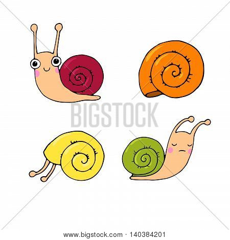A set of cute little snails. Hand drawing isolated objects on white background. Vector illustration.