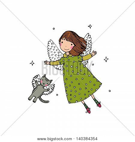 Cartoon angel and cat. Hand drawing isolated objects on white background. Vector illustration.
