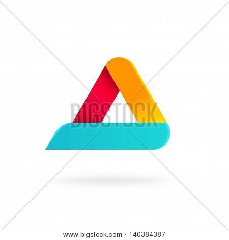 Triangle logo with rounded corners vector isolated on white background, blue orange red gradient abstract triangle logotype element, letter a symbol, elegant creative geometric figure
