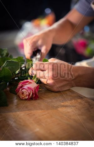 Close-up of male florist preparing flower bouquet at his flower shop