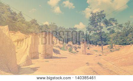 Desert Oasis sand mountain bright vintage tone