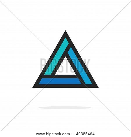 Triangle logo element with strict corners vector isolated on white background, blue triangle figure logotype, strong geometric figure with bold lines outlined