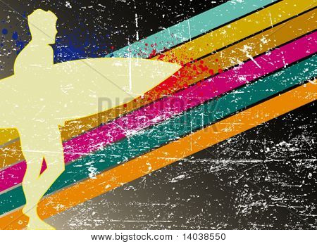 retro surfing poster