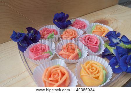 Thai rose Aalaw dessert and Pea flowers