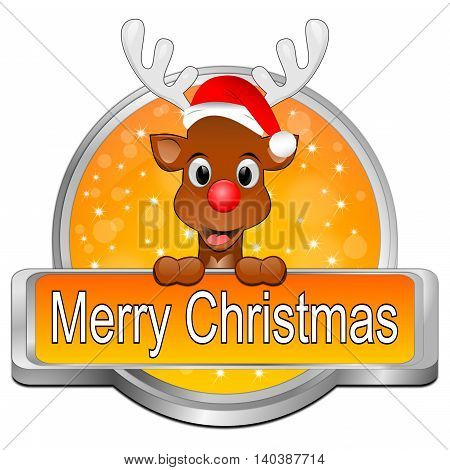 decorative orange Reindeer wishing Merry Christmas Button - 3d illustration