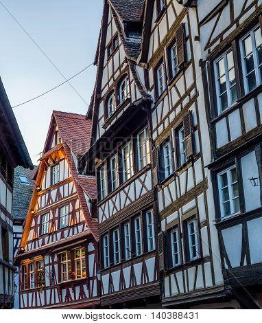 Half-timbered alsatian houses in Petite France quarter, Strasbourg, France