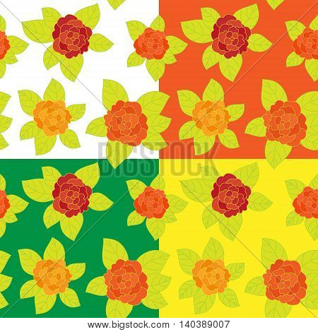 Set of Floral seamless pattern. Art vector illustration