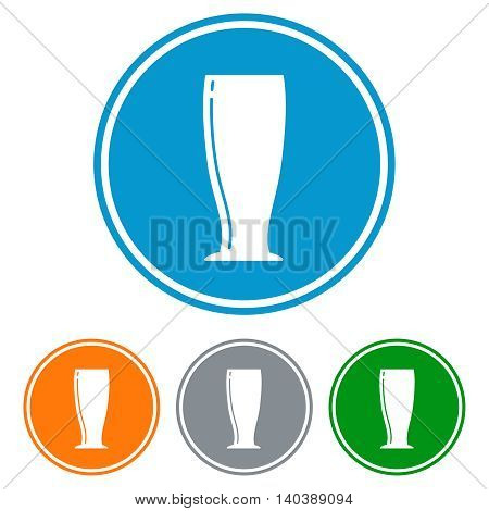 Flat pilsner glass for beer icons set vector
