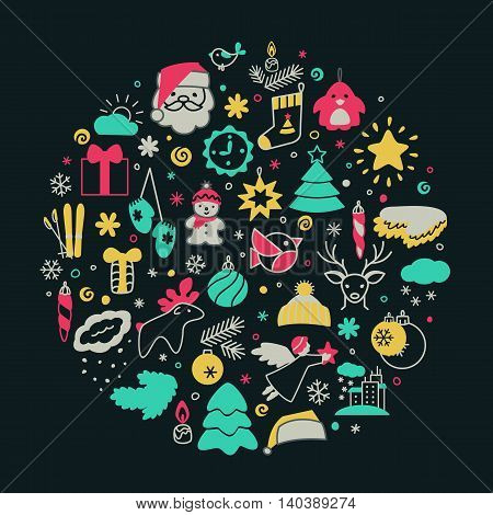Backgrounds with icons - New Year Christmas winter. A vector.