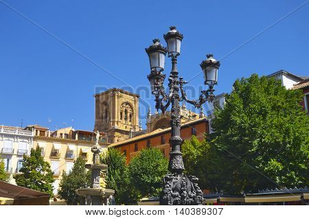 View in town center in Granada (Andalusia Spain).