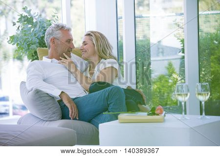 Romantic mature couple sitting on armchair at home